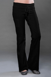 Cotton Spandex Jersey Cover Stitched Raw Edge Pant w/ Side Pockets