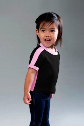 Toddler Fine Interlock Short Sleev Ranger Tee w/ Side & Sleeve Stripes
