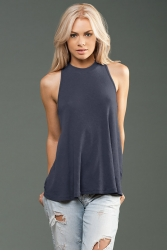 ECO-HYBRID 2x1 Rib Sleeveless Mock Neck Top